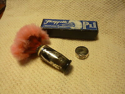 VINTAGE ANTIQUE Houppette PLI Goose Down Powder Puff French Brevete PINK