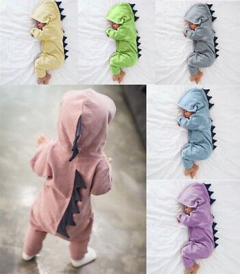 2018 Baby Boy Girl Newborn Infant Dinosaur Hooded Romper Jumpsuit Clothes Outfit