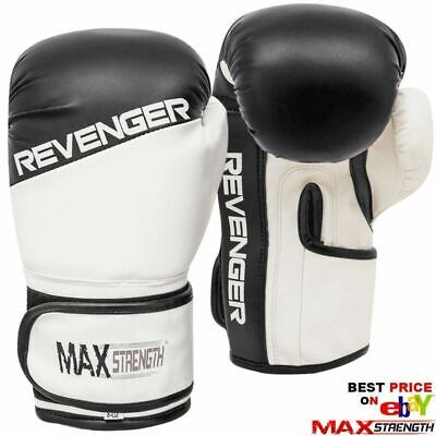 Boxing Punch Bag Gloves Rex Leather Gym Kick Fight Training PVC Mitts MMA BLACK