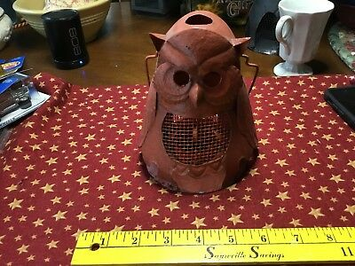 Owl Lantern Orange Metal 9 Inch Hanging Candle Votive Metal Garden Decor Bird
