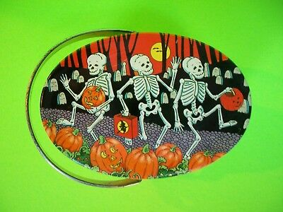 Vintage Keller-Charles Halloween Dancing Skeletons Oval Tin w/Lid & Handle VGC
