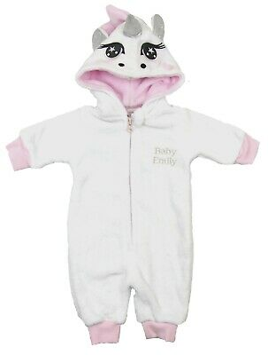 Baby Girls Unicorn Sleepsuit All In One Fluffy Hooded Novelty PJ Newborn to 9mth