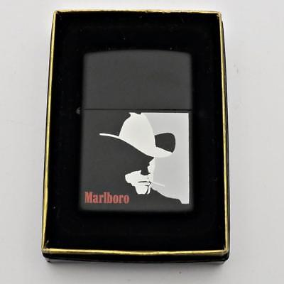 Vintage 1992 Zippo Lighter Black Matte Marlboro Man Cowboy Mint in Box