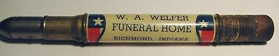 "Vintage Advertising ""W.A. WELFER FUNERAL HOME"" Richmond Indiana BULLET Pencil"