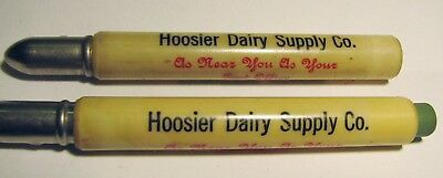 "2 Vintage Advertising ""HOOSIER DAIRY SUPPLY CO."" Converse Indiana BULLET Pencils"