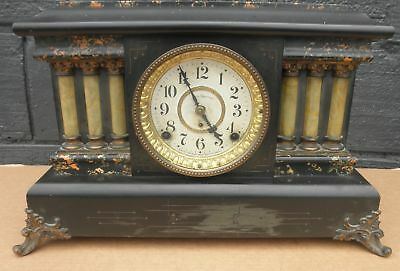 Antique Early 1900s Seth Thomas Adamantine Mantle Clock 6 Column Working