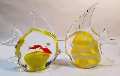 2 Clear Glass & Yellow Center Fish Paperweight/ Figurine Free Shipping