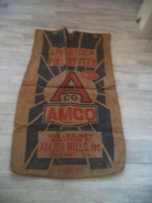 original Jute Sack - sehr alt - POULTRY FEED CHICAGO - 60 x 100