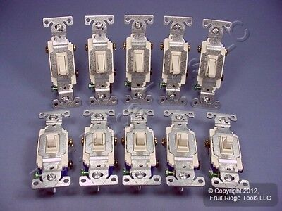 10 Cooper Light Almond Quiet Toggle Wall Light Switches 3-WAY 15A 120V 1303-7LA