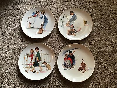 The Norman Rockwell Four Seasons Miniature Plate Collection 1949 Set Of 4