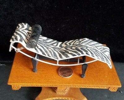Dollhouse Miniatures Willitts Take A Seat By Raine Zebra Chaise 1:12