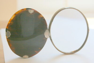 Genuine Silver  And Horn Trim Large Magnifying Glass, 4 In X 3 In , No Chips