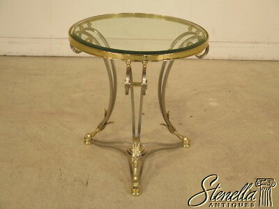 40105: LABARGE Round Regency Style Brass & Steel Occasional Table