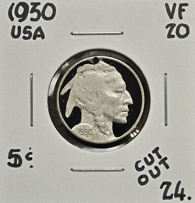 1930 United States 5 cents - Cut Out Coin Art