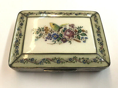 European .900 Fine Silver Enamel Box (Floral / Butterfly) Hand Painted Top