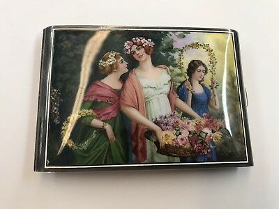STUNNING LATE 1800's SILVER CIGARETTE CASE HAND PAINTED ENAMEL TOP