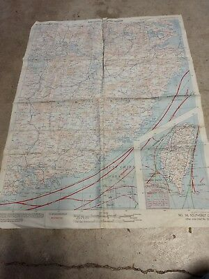 WWII 1943 CBI silk escape map, double sided - China. No. 34. 10th & 14th AAF ATS