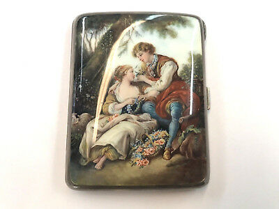 Gorgeous European .835 Fine Silver Cigarette Box Hand Painted Enamel Top