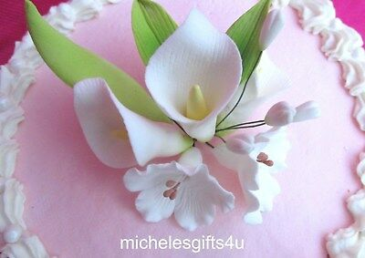 "Gum Paste Calla Lilies & Blossoms Sugar Cake Flowers Leaves   4"" x 4"""