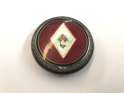 Early 20Th Century Sterling Silver Hand Painted Enamel Compact Box Floral
