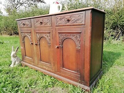 Antique Titchmarsh & Goodwin style English Oak Carved Sideboard drawers golden