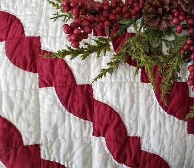 Cranberry Red Christmas! Early Antique c1880s  Candy Cane Stripe QUILT 78x62
