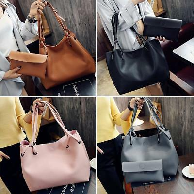 2PCS Women's Leather Handbag Lady Shoulder Bags Tote Purse Messenger Satchel Set