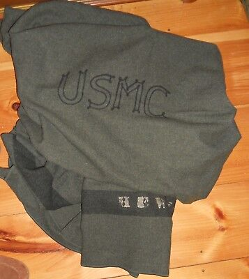 Usmc Forest Green Blanket,early Stitched Lettering !
