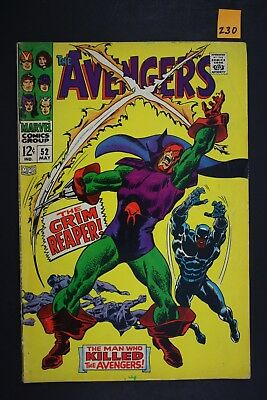 Vintage 1968 Marvel No. 52 The Avengers Comic Book The Grim Reaper 230