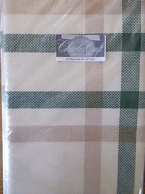 "Cross stitch Fabric  14ct Block  Aida ""Beige & Green  New 45"" x 60"""