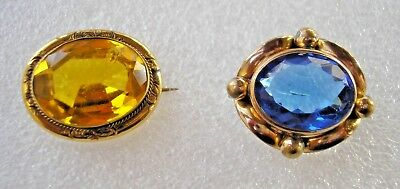 2 gorgeous antique Victorian Gold filled brooches - blue & yellow paste stones