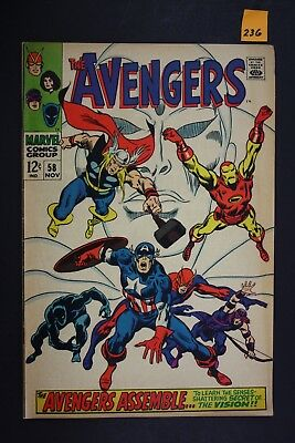 Vintage 1968 Marvel No. 58 The Avengers Comic Book Secret of The Vision 236