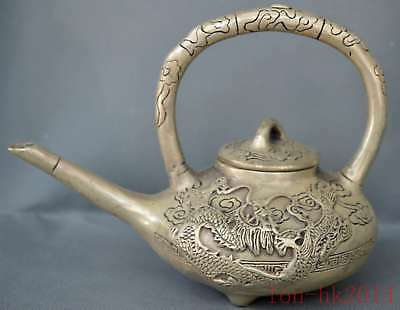 China Collectable Handwork Old Miao Silver Carve Dragon Phoenix Exorcism Tea Pot