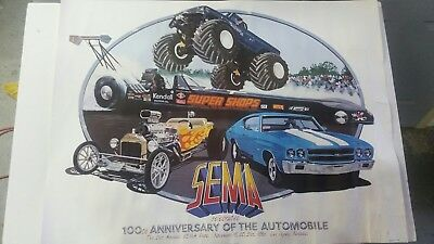 SEMA 100th anniversary of the automobile poster/Bigfoot monster truck/Cleworth