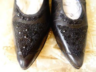 Wonderful Pair Late Victorian Black Leather Shoes With Jet Embellish C.1880