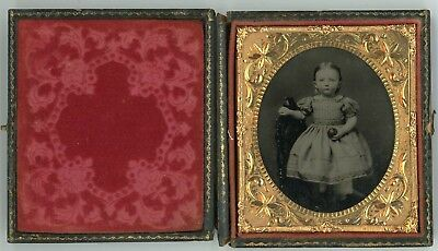 Ruby Ambrotype of Child Holding an Apple