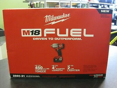 """*NEW* Milwaukee 2860-21 M18 FUEL 1/2"""" Mid-Torque Impact Wrench Kit w/ Pin Detent"""