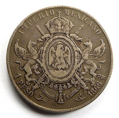 1866Mo Mexico 1 Peso - Empire of Maximilian - KM# 388.1