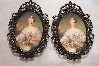 """2 VINTAGE Ornate Brass Metal Wall Frames MADE ITALY Victorian Lady 8"""" TALL"""