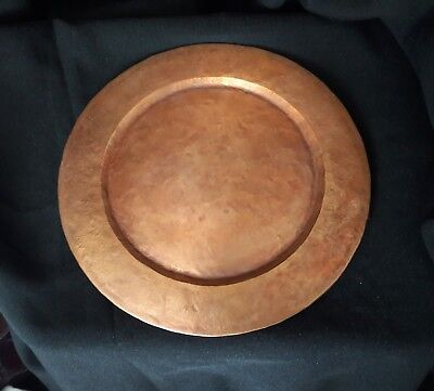 "Vtg ANTIQUE OLD ▪ARTS CRAFTS ▪11"" HAMMERED COPPER  CHARGER PLATE PLATTER TRAY"
