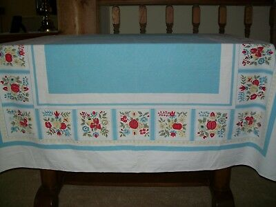 Vintage Tablecloth  Flowers & Fruit Blue, White & Red