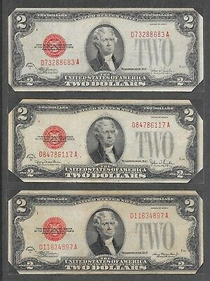 1928 D + F + G - ( 3 ) $2 Red Seal Notes