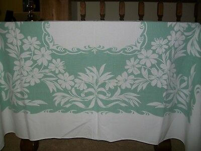 Vintage Tablecloth  Flowers & Bows Green & White