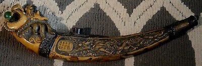 Antique Dragon Smoking Pipe Chinese - Lots Of Detailing And Painting!!!