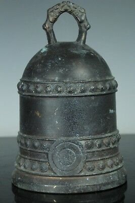 Sep051 Chinese Antique Bronze Temple Gong Bell Buddhist Engraving W/striker
