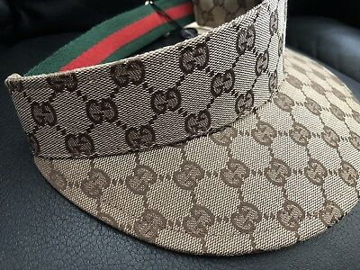 91dd255d4f47f AUTHENTIC GUCCI VISOR HAT Small Brown GG -  132.50