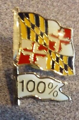 State of Maryland Flag lapel pin pre-owned with 100% white flag