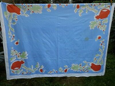 Vintage Retro Mid Century Cotton Tablecloth Blue  w/ Fruit Pomegranate 50 by 64
