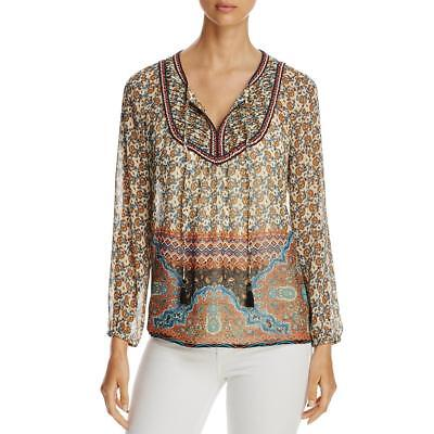 Aqua Womens Printed Sheer Day to Night Peasant Top Shirt BHFO 4053