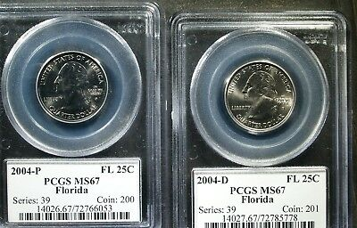 2004 P& D U.S. Florida State Quarter - TWO COIN SET  - MS67 (PCGS)